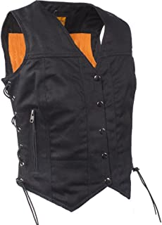 Womens Black Denim Motorcycle Vest with Side Laces Gun Pockets