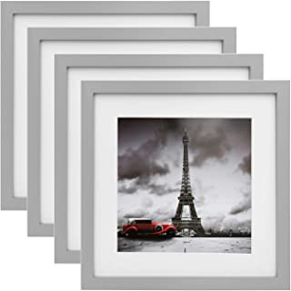 Egofine 11x11 Picture Frames 4 Pack, Display Pictures 8x8 with Mat or 11x11 Without Mat Made of Solid Wood for Table Top Display and Wall Mounting Photo Frame, Light Gray