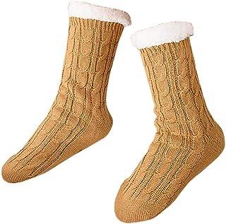SilenceID, Calcetines de invierno para mujer con forro polar, calcetines de punto, calcetines cálidos, gruesos, calcetines térmicos para el suelo, calcetines de invierno para la nieve, color verde