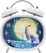 ベル目覚まし時計ナイトライトミュート漫画かわいいシンプルな多機能ファッションベッドホームクリエイティブパーソナリティバラエティー CHENGYI (Color : White 4, Size : 10.4CM*5.3CM*13CM)