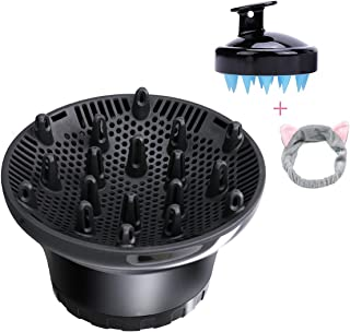 Universal Hair Diffuser Hair Dryer Diffuser Attachment For Curly Wave Thick and Nature Hair Profession Blow Dryer Diffuser Attachment Use Honeycomb Element Adjustable to 1.4-2.6 inch (black)