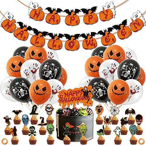 Decoraciones Con Globos De Halloween, 49Pcs Halloween Decoracion Pancarta Globos De Látex De Halloween Globos y Papel De Halloween Para Halloween Bar Suministros de decoración del Hogar
