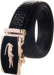 Men's Holeless Leather Ratchet Dress Belt with Automatic Sliding Buckle - Trim to Fit