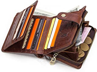 Hiram Genuine Leather RFID Blocking Vintage Wallet Men With Coin Pocket, Tri-fold Short Wallets, Small Zipper Walet with C...
