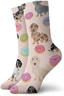 Be-ryl, Unisex Doxie Donuts Light Pinkpsd Novedad Divertido Crazy 3D Print Casual Long Crew Tube Socks