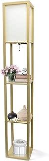 Simple Designs Home LF1014-TAN Etagere Organizer Storage Shelf Linen Shade Floor Lamp, 63.30 x 10.20 x 10.20 inches, Tan