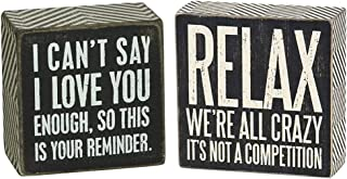 Primitives by Kathy 23238 Chevron Trimmed Box Sign, 3 x 3-Inches, I Love You & 25172..