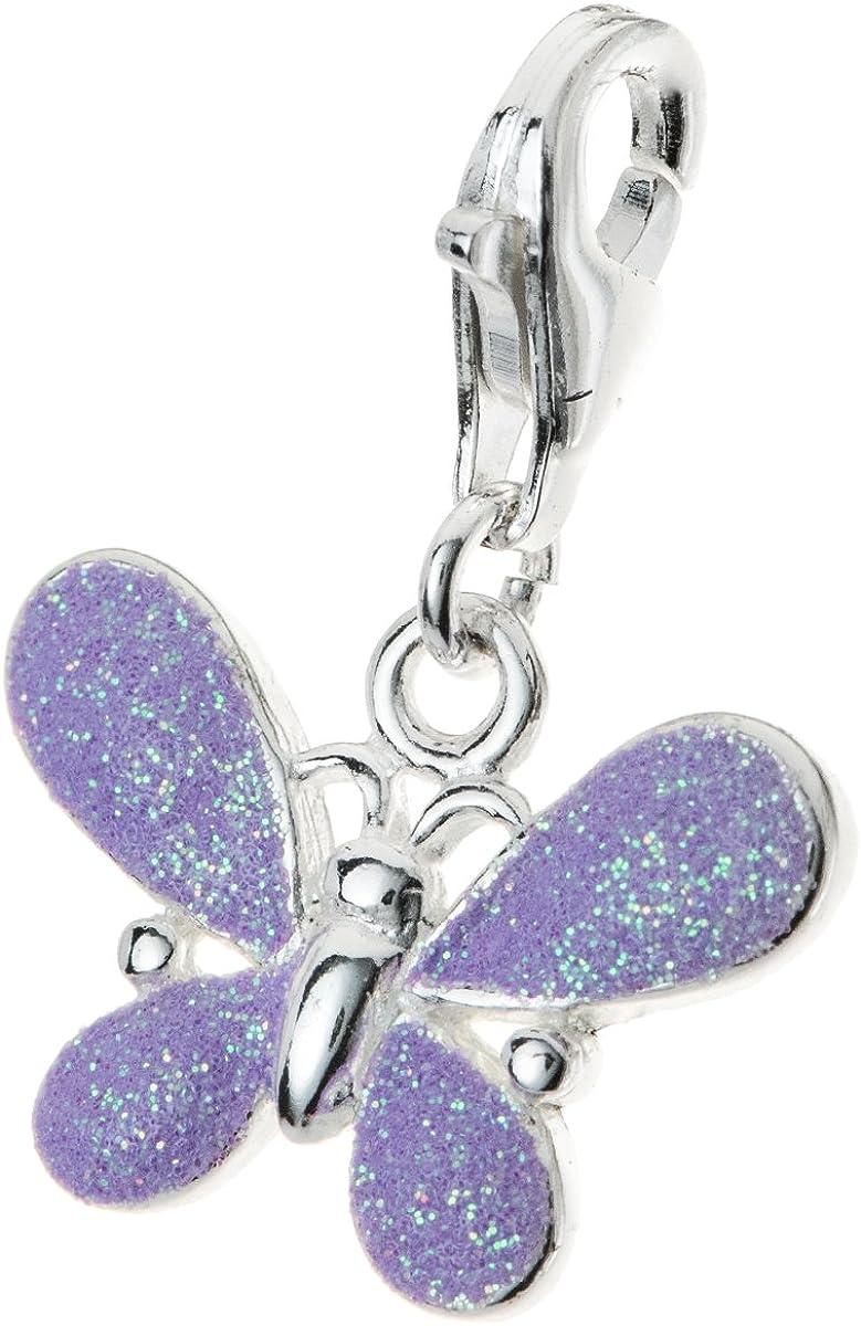 Elegant Dreambell 925 Some reservation Sterling Silver Butterfly Cl Glitter Enamel Purple