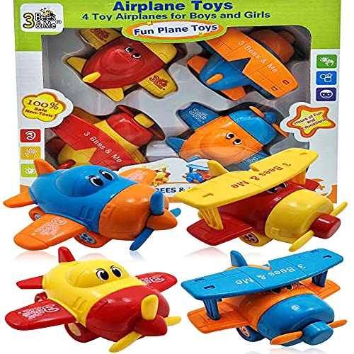 3 Bees & Me Airplane Toys - Set of 4 Toy Airplanes for Boys and Girls - Fun Toys for Toddlers & Kids...