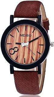 Ecurson MEIBO Modeling Wooden Quartz Mens Watch Casual Wooden Color Leather Watch (B)