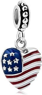 ハートのチャームArmy Momチャームアメリカ国旗チャームスタービーズスネークチェーンブレスレット用