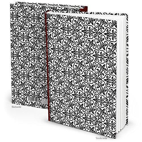 Cuaderno XXL de color negro y blanco con estampado oriental, tamaño DIN A4, con 164hojas en blanco y tapas duras