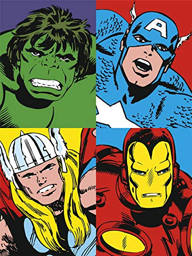 Grupo Erik C30X40CM002 Erik C20X25Cm001 Cuadro Lienzo Canvas Hulk Capitan America Thor Iron Man 30X40 Cm, 30x40 cm, Multicolor