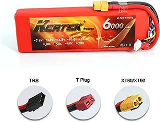 KCRTEK 11.1V 3S LiPo Battery 6000mAh with XT60 for Traxxas RC Cars Slash vxl Slash 4x4 vxl E-maxx Brushless Axial e-revo Brushless and Spartan Models