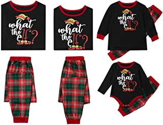 Family Christmas Pyjamas Set,Long Sleeve Printed T-Shirt+Plaid Pants Pajamas,Men,Women,Kid,Baby Print Blouse Tops and Pant...