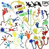 Wankko 72 Pieces Vinyl Stretchy Sticky Toy Assortment Including 12 Wall Climber Men, 12 Sticky Animals, 12 Large Sticky Hands, 12 Sticky Hammers, 12 Stretchy Flying Frogs and 12 Sticky Frogs