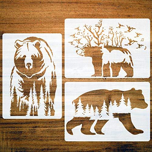 Große Waldbär-Schablonen, Bergwandernde Bären, wiederverwendbare Vorlage, A4 Größe zum Malen auf Holz, Stoff, Leinwand, Wand, DIY Kunstprojekte, 3 Packungen 29,7 x 21,1 cm