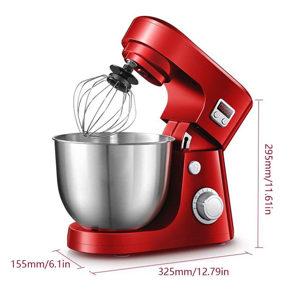 Luckm Alimentos Batidora De Pie 800W 8 Velocidad 4.2L Rojo Eléctrico Masa Blender con La Función De Sincronización, Batidor, Gancho, Batidor: Amazon.es