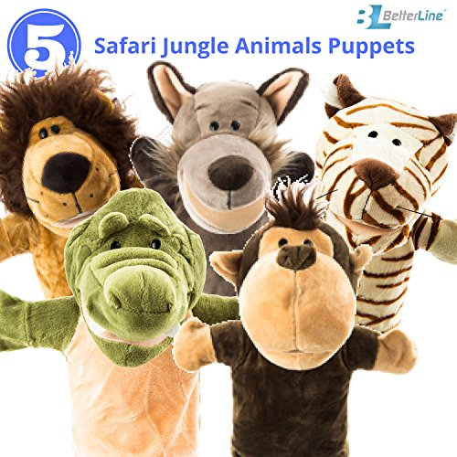 """Animal Hand Puppets 5-Piece Set - Premium Quality with Movable Open Mouths, 9.5"""""""