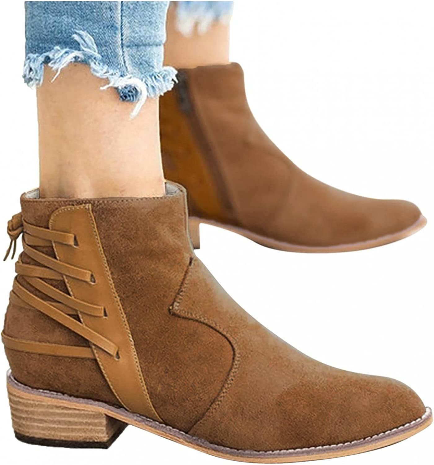 Zieglen Combat Boots, Boots for Women Retro Buckle Strap Low Heel Short Boots Cowboy Boots Thigh High Boots Motorcycle Boots