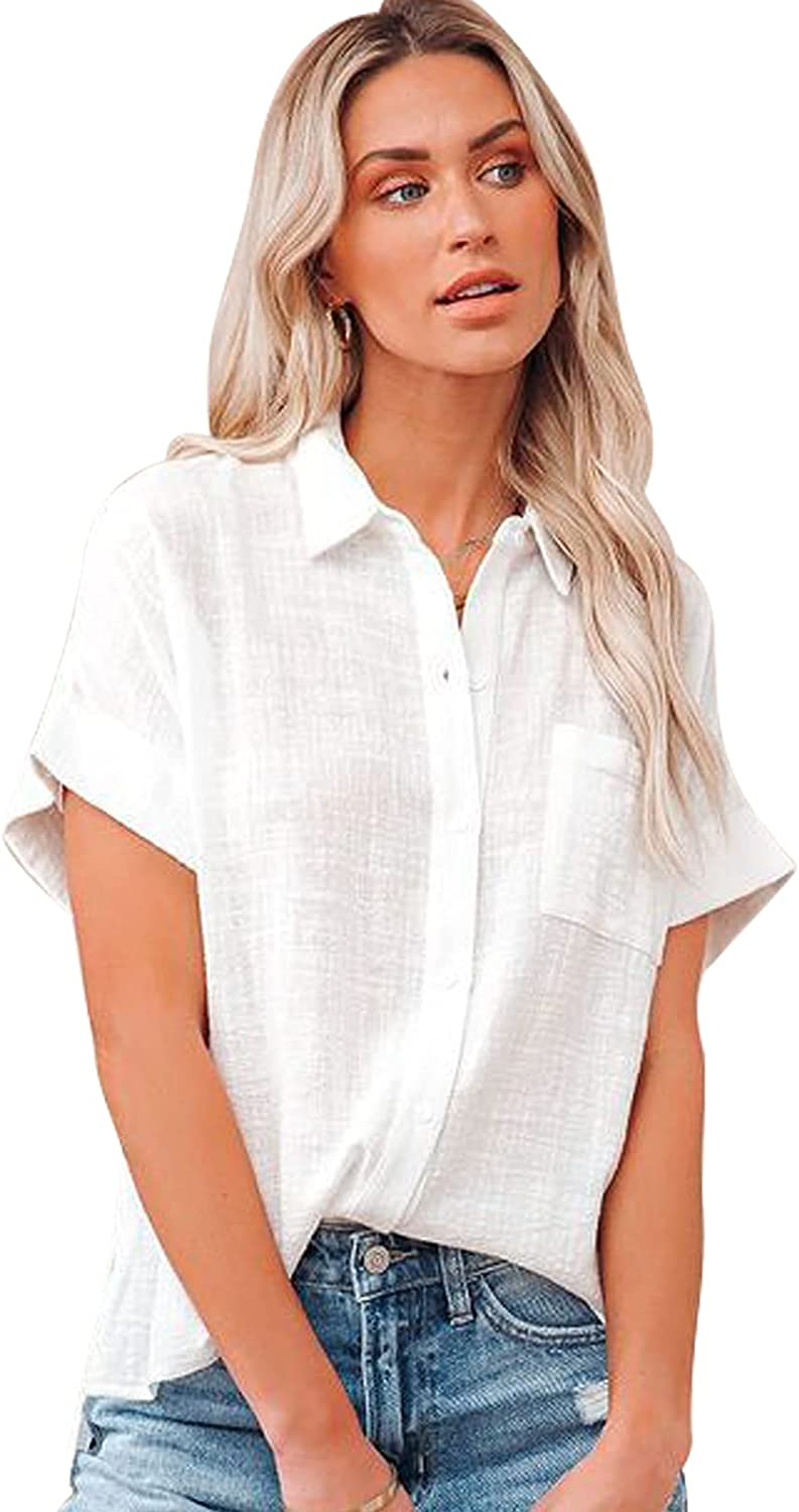 Womens Short Sleeve Cotton Linen Shirts Loose Solid Button Down Blouse V Neck Casual Collared Work Tops with Pockets