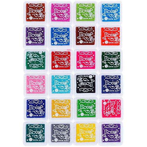 Faburo Coussins Encreurs,Tampon Encreur Encre Empreinte 24 Couleurs pour Caoutchouc Timbres sur Papier et 24 Petite Boîte Indépendante pour la Fabrication de Carte