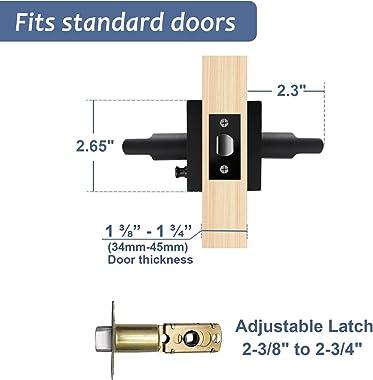 2 Pack Door Handles Black, Privacy Door Lever Interior for Bedroom Bathroom, Reversible Square Levers for Left/Right Handed D