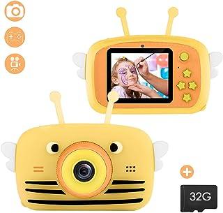 iFCOW Cámara para Niños Cámara Digital de Doble Lente de 20Mp para Niños Grabadora de Video HD Anti-Caída de 2 Pulgadas 1080P con Tarjeta de 32G TF Compatible con Juegos Pequeños