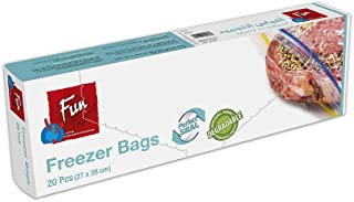 Fun® Indispensable Biodegradable Freezer Bags with Ziplock - Pack of 20 - Medium
