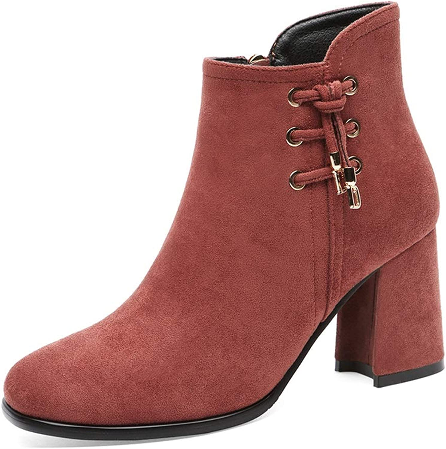 Ladies Booties, High Heel Thick Heel Plus Velvet Square Head Suede Women's Boots Fall Winter Side Zipper Fashion Boots (color   B, Size   38)
