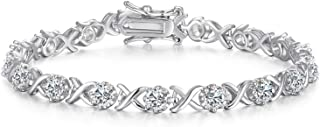 Sterling Silver Cubic Zirconia Bracelets for Women, Perfect Jewelry Gifts for Her