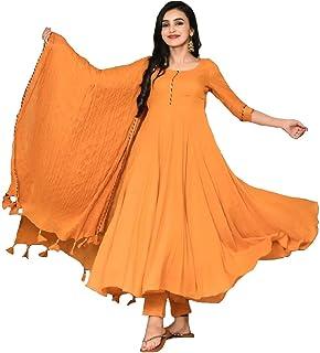 MONIKA SILK MILL Women's Cotton Silk Semi-stitched Salwar Suit (msmsstyle995_Orange_Free Size)