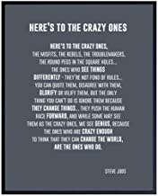 Heres to the Crazy Ones Entrepreneurial Motivational Quote -8x10 Art Print, Home Decor - Inspirational Wall Art Poster - U...