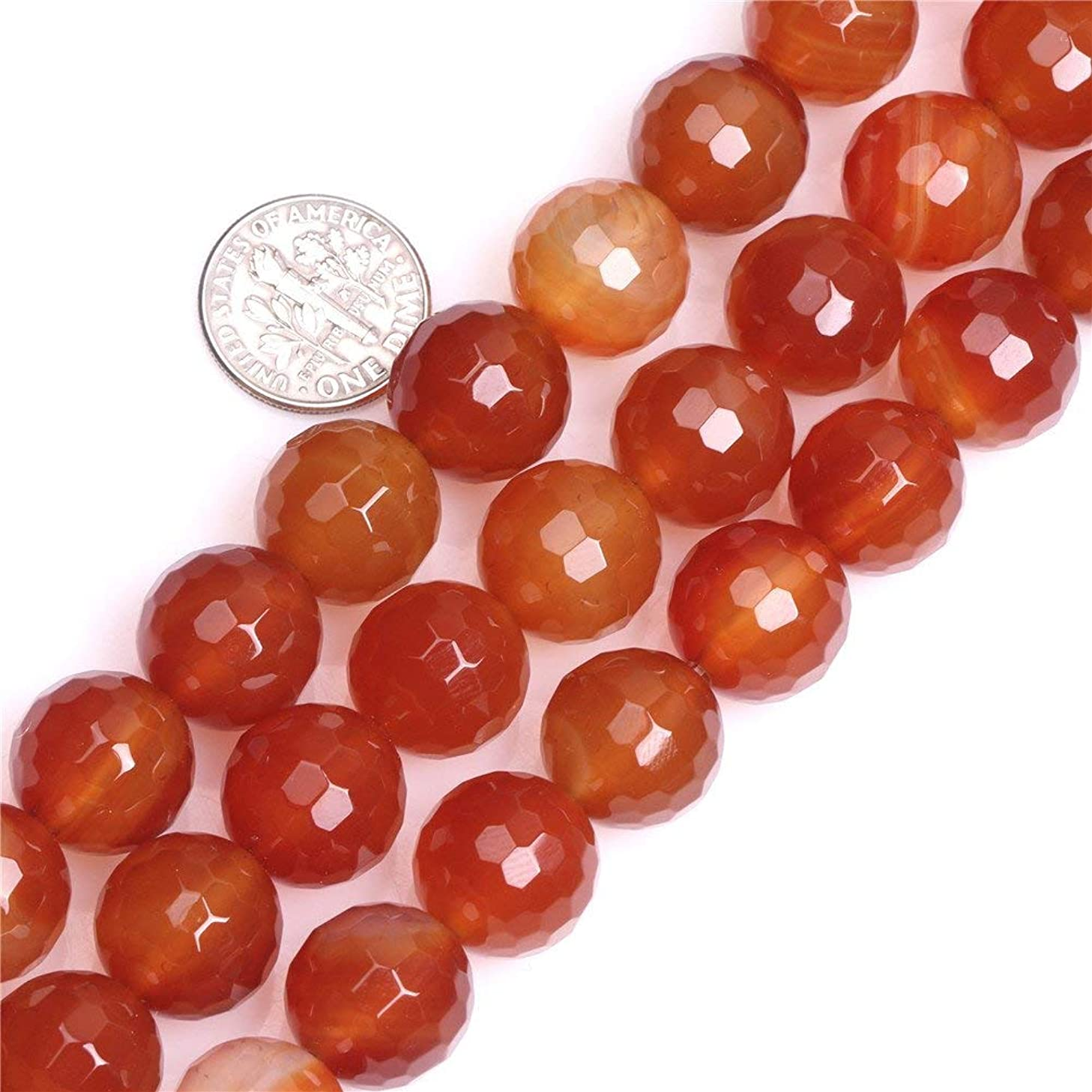 Sweet Happy Girl's 14mm Round Faceted Gemstone Red Carnelian Beads Strand 15 Inch Jewelry Making Beads