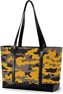 MCHIVER Große Laptop-Tragetasche für Damen – Militär-Camouflage-Armee-Schultertasche aus Segeltuch, passend für 39,6 cm 15,6 Zoll Computer-Handtasche für Arbeit, Schule, Outdoor-Aktivitäten