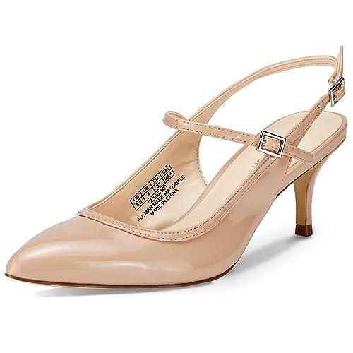 ce9e4082fbce5 JENN ARDOR Women Shoes Slingback Kitten Heels Closed Toe Court Shoes Mid  Heels Pointed Toe Pumps