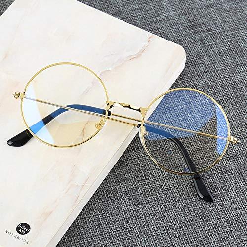 Jbwlkj Marco Redondo de Metal Vintage Bloqueo de luz Azul Personalidad Estilo Universitario Lente Transparente Gafas Gafas Protección para los Ojos Juego para teléfono móvil-China_Golden
