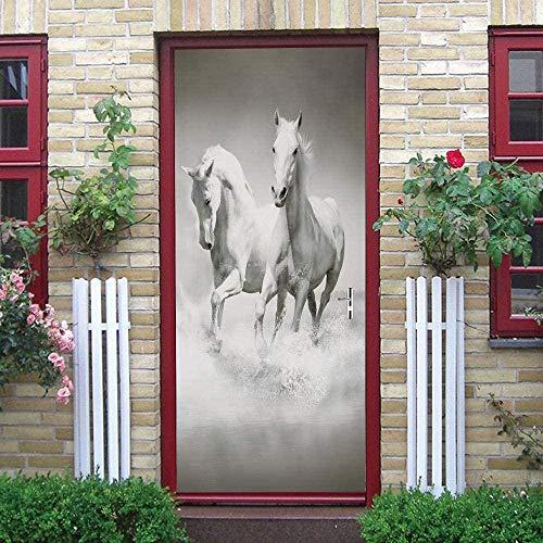 LuSeven vinilo puerta madera Creativo blanco animal caballo 77x200cm Impermeable Extraíble Bricolaje Pintura Mural Murales Autoadhesivos Papel Tapiz Para Puertas Interiores Puerta Del Dormitorio Decor