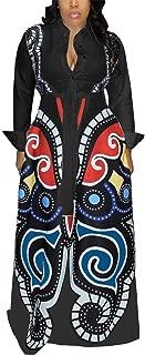Yootiko Womens Elegant Midi Dress Long Sleeve V Neck Print Loose Swing T Shirt Dresses with Belt