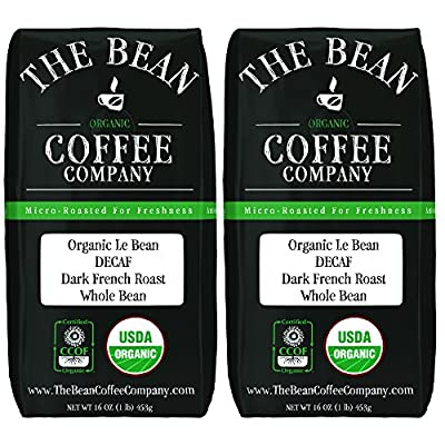 The Bean Coffee Company Organic Decaf Le Bean, Dark French Roast, Whole Bean, 16-Ounce Bags (Pack of 2)