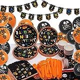 ECHOAN Halloween Juego de Vajilla de Fiesta - Completo para 24 Invitados, Que Incluye Tazas, Servilletas, Platos, Mantel, Pancarta, Globos