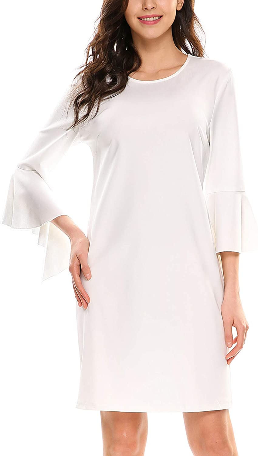 ELESOL Women's Ruffle 3 4 Sleeve Round Neck Causal Solid Shift Dress