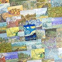 PUDIS 素材紙 メモ 60枚入り ペインティング 西洋 風景 油絵 ノート手帳用 書写紙 デザインペーパー 手紙 カレンダー スケジュール (ゴッホ)