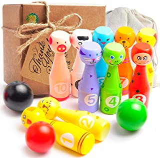aGreatLife Wooden Bowling Game Set for Kids - Mini