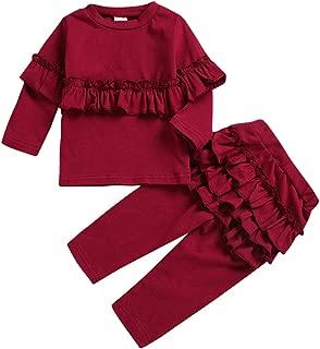 KONIGHT Kids Toddler Baby Girls Fall Outfit Ruffled Long Sleeve Sweatshirt T-Shirt+ Lace Pants 2Pc Winter Clothes Set