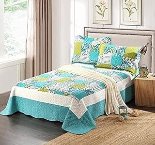 Tache 3 Piece Spring Breeze Patchwork Floral Blue Green Bedspread Coverlet Quilt Set, Full