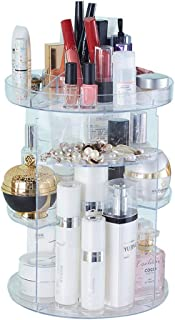 Luggage Cosmetic Cases Beauty Multifunctional Shelf Rotating Transparent Acrylic Skin Care Storage Box Dressing Table Cosmetics Storage Box/Storage Rack (Color : Clear, Size : 23.5cm*32cm)