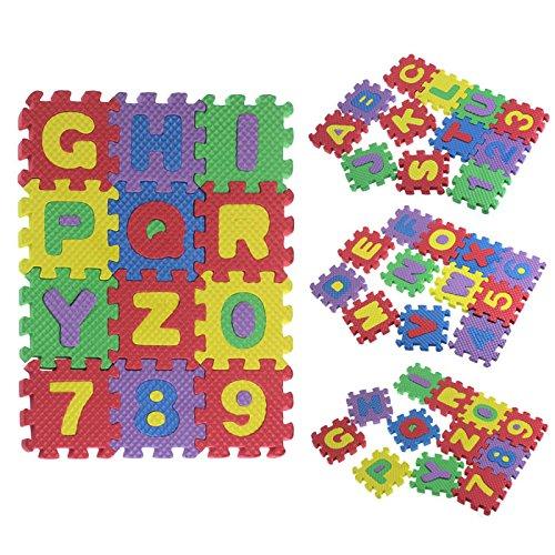 Alfombra Puzzle para Niños 6 * 6CM / PC,36 Piezas Numeros 0 al 9 y 26 Letras Alfabeto Goma Espuma Alfombrilla de Juego para Bebe Infantil Área de Cobertura (12x12CM/PC-36PCS)
