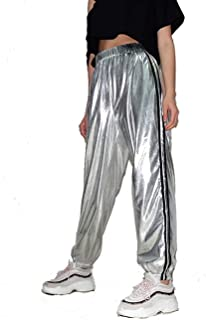 High Waist Sweatpants for Women Side Stripped Casual Silver Color Pants Elastic Drawstring Ankle-Tied Leggings