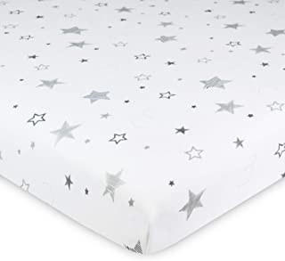 American Baby Company Printed 100% Natural Cotton Value Jersey Knit Fitted Portable/Mini-Crib Sheet, Super Stars, Soft Breathable, for Boys & Girls, Pack of 1